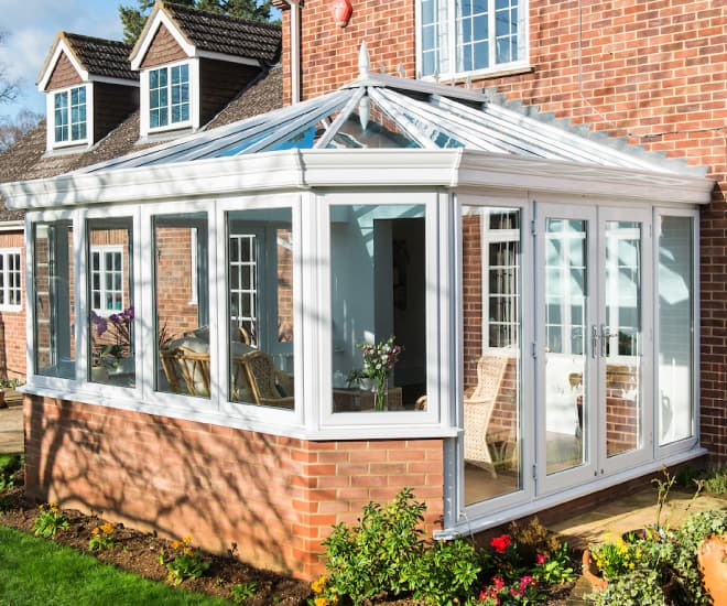 An Everest white uPVC orangery built on solid foundations
