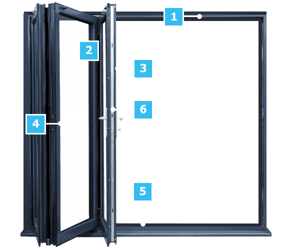 An image with corresponding technical specifications for Everest's bifold doors