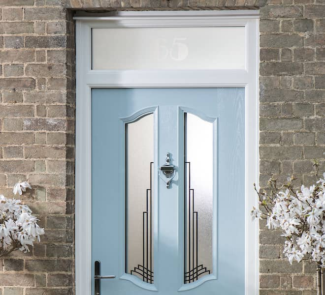 An Everest composite entrance door with glass top box design