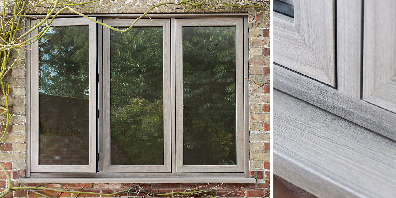 An Everest flush uPVC casement window in Grey Cedar