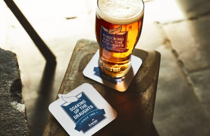 Everest pint glasses and beer mats at the Tan Hill Inn
