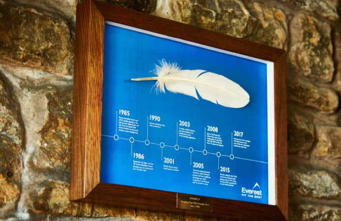 Feather presented to the Tan Hill Inn by Everest