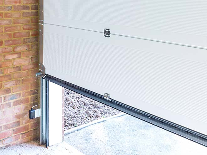 View of the lower part of an Everest sectional garage door frrom inside