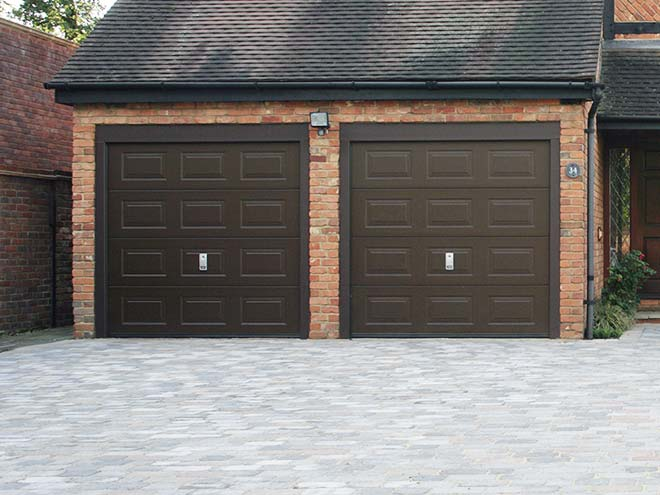 Mocha Brown coloured sectional garage doors from Everest