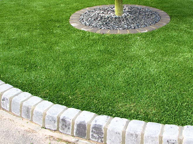 Everest Artificial Grass enclosed with a grey brick border