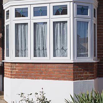 A white uPVC bay window