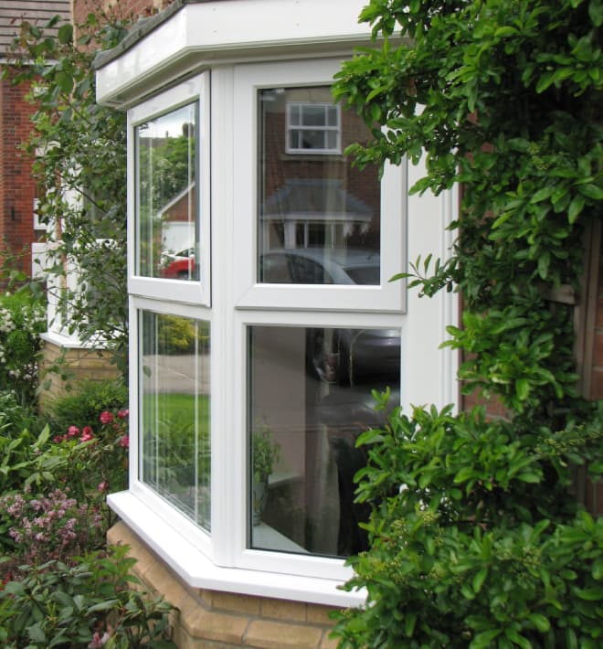 White Everest uPVC bay window