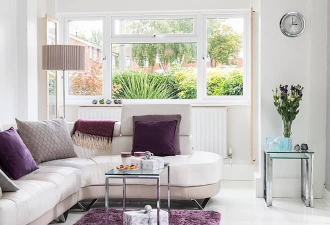 A fresh beige living space to help illustrate that new home double glazing can help to reduce noise