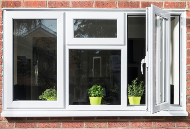 A white uPVC casement window viewed from the outside