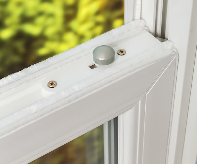 Close up of the smooth opening and closing mechanism on Everest uPVC sash sliding windows