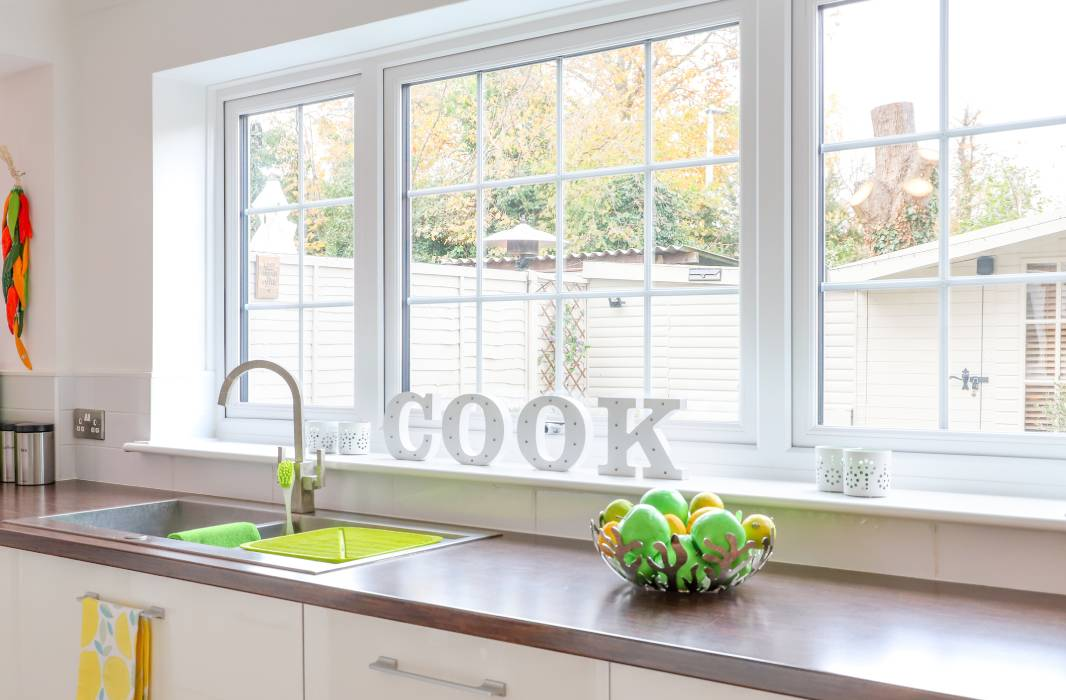 Affordable white uPVC double glazed window in a kitchen
